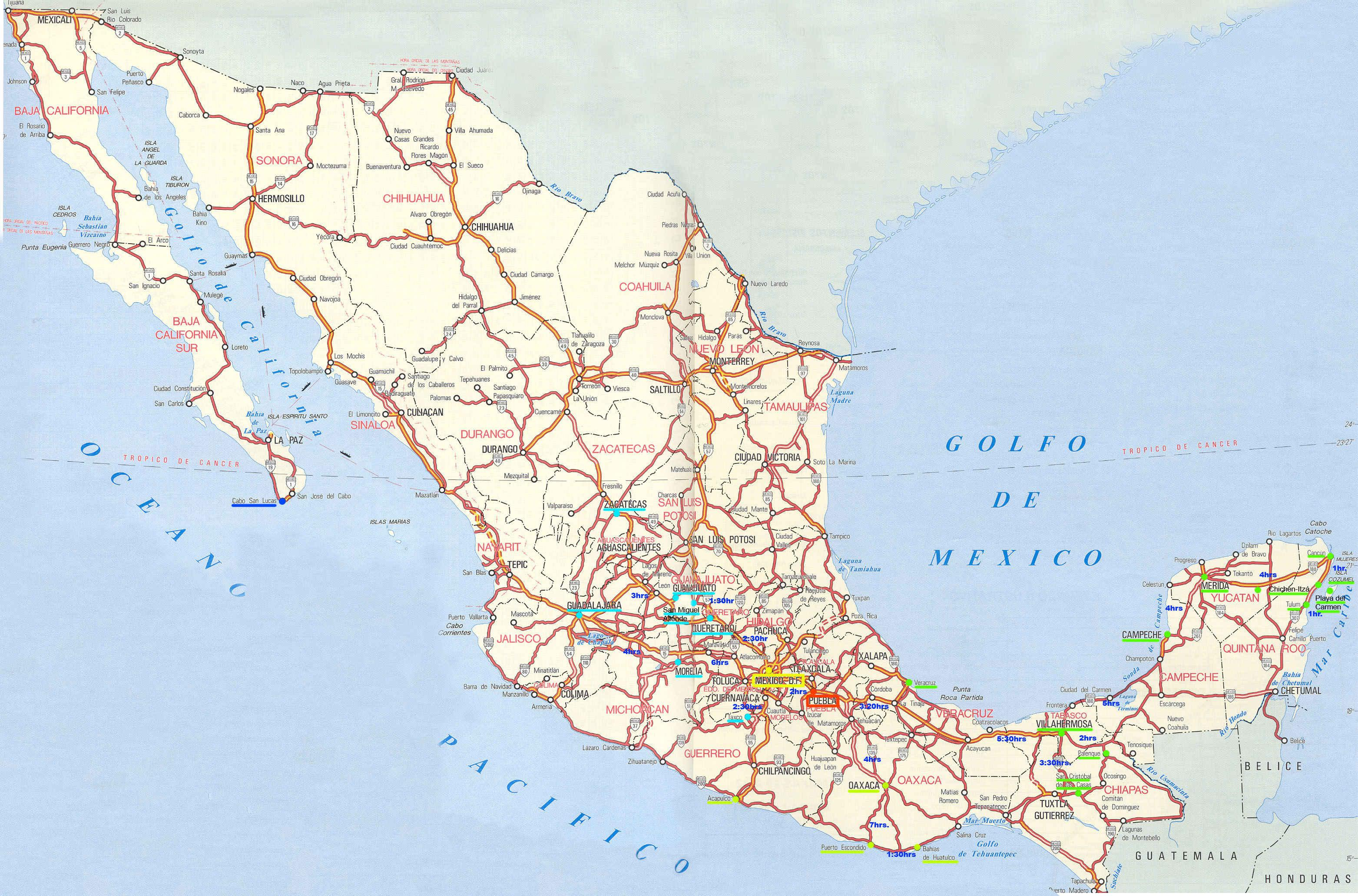 Driving map of Mexico Map of Mexico driving Central America