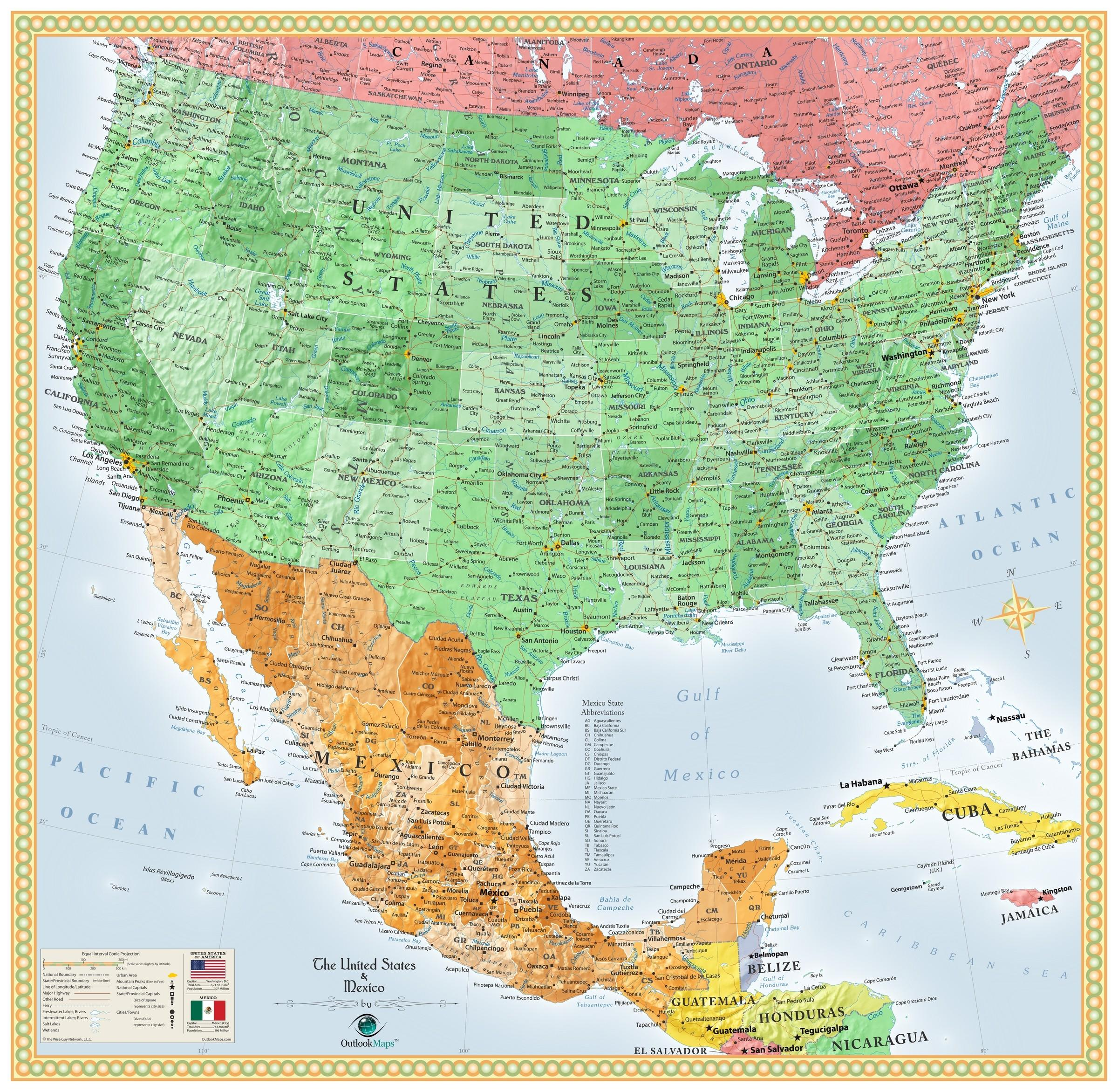 Mexico and us map - Us & Mexico map (Central America - Americas)