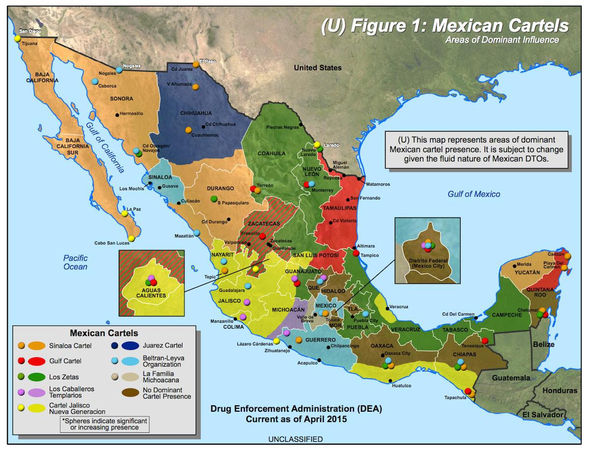 Mexico Cartel Map Mexican Cartel Map Central America Americas