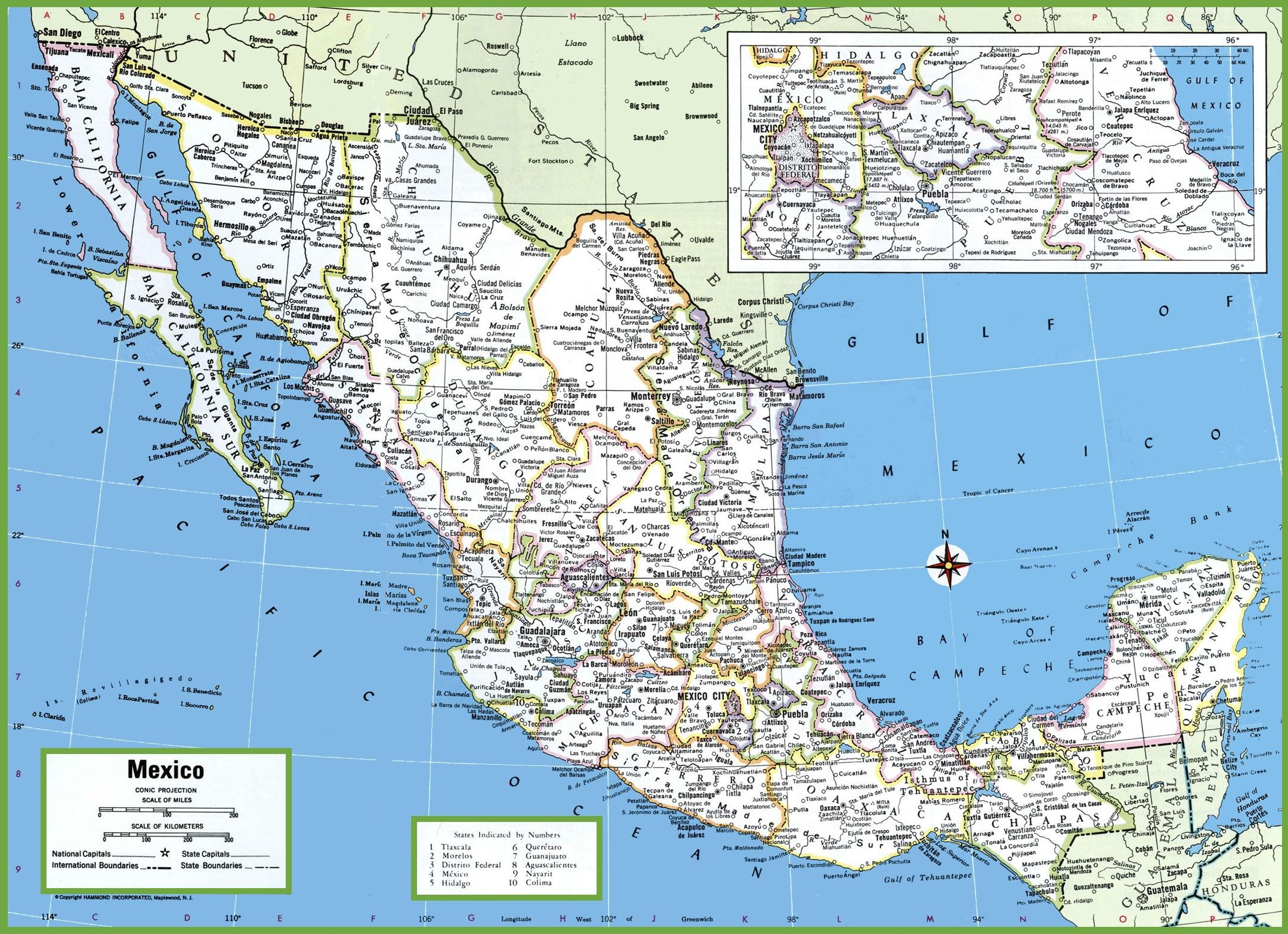 cities in mexico map