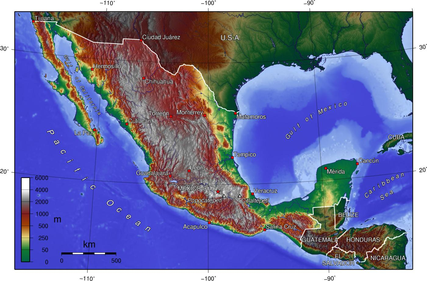 Mexico elevation map Elevation map Mexico Central America Americas