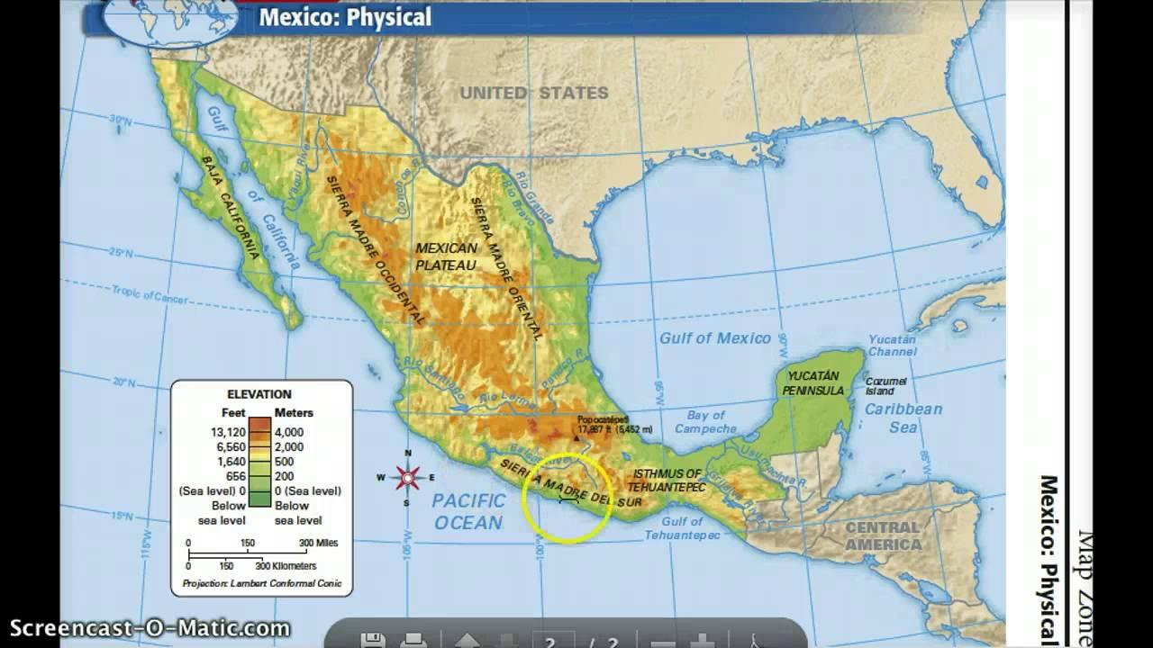 Mexico physical features map mexico map physical features central mexico map physical features sciox Images
