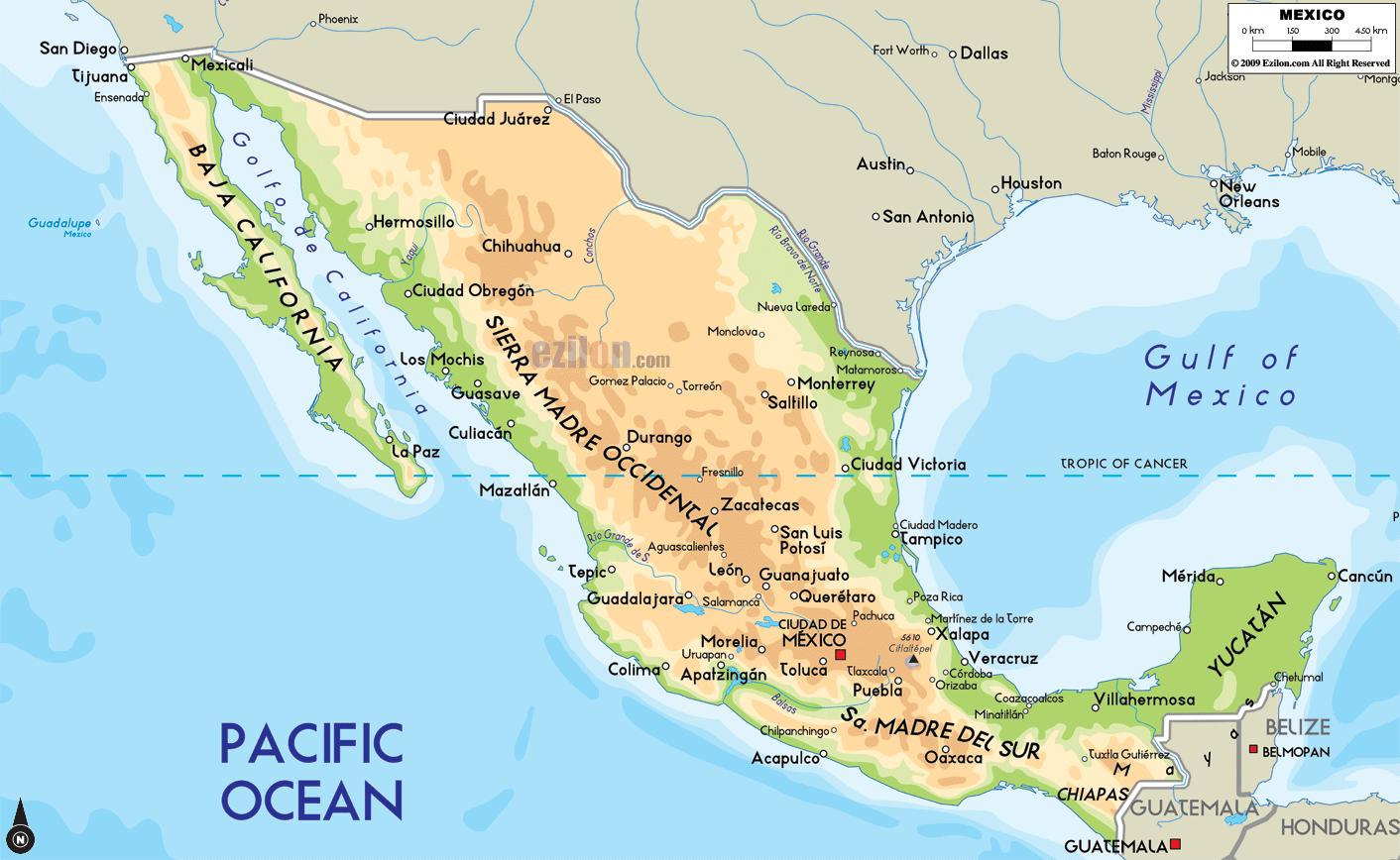 Mexico physical map - Mexico map physical (Central America - Americas)