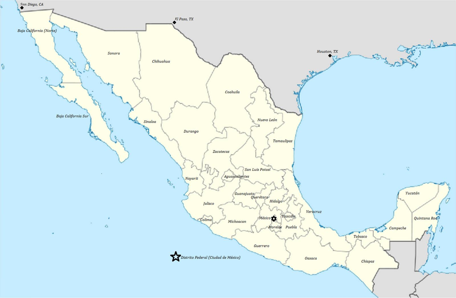 Mexico states map - States of Mexico map (Central America - Americas)
