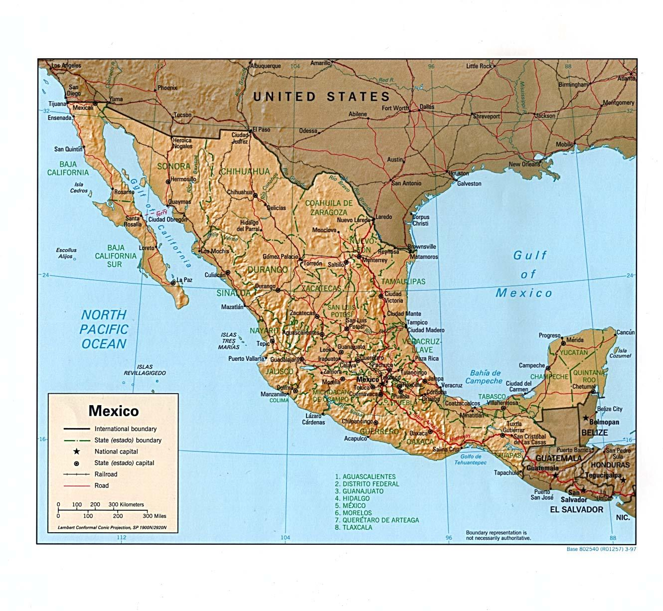 Original Map Of Mexico Mexico Original Map Central America