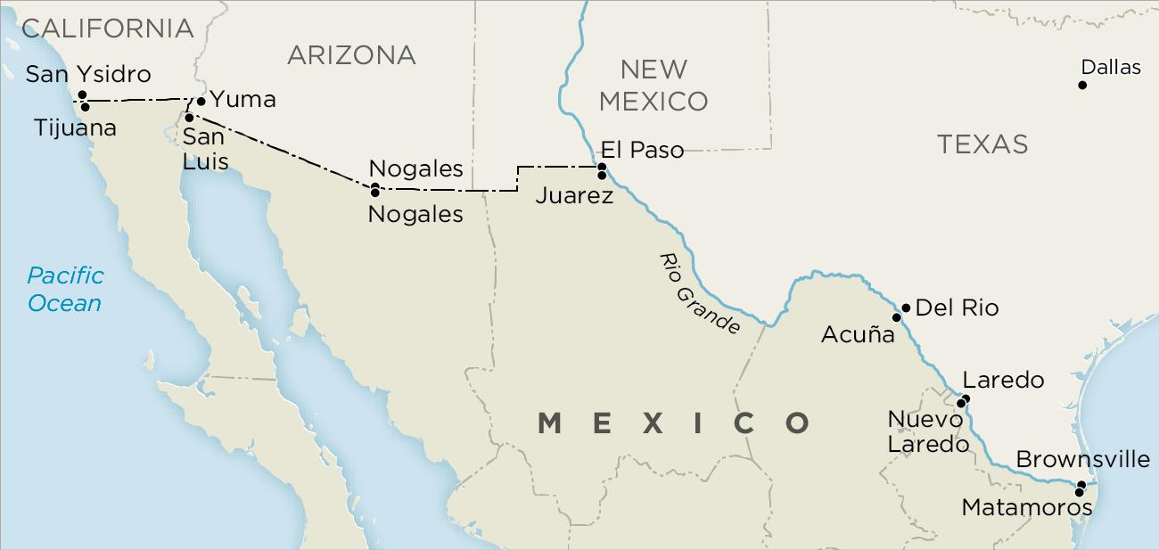 Us Mexico border map Us and Mexico border map Central America