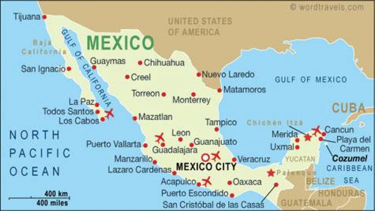 Map of Mexico airports - Map of airports in Mexico (Central America ...