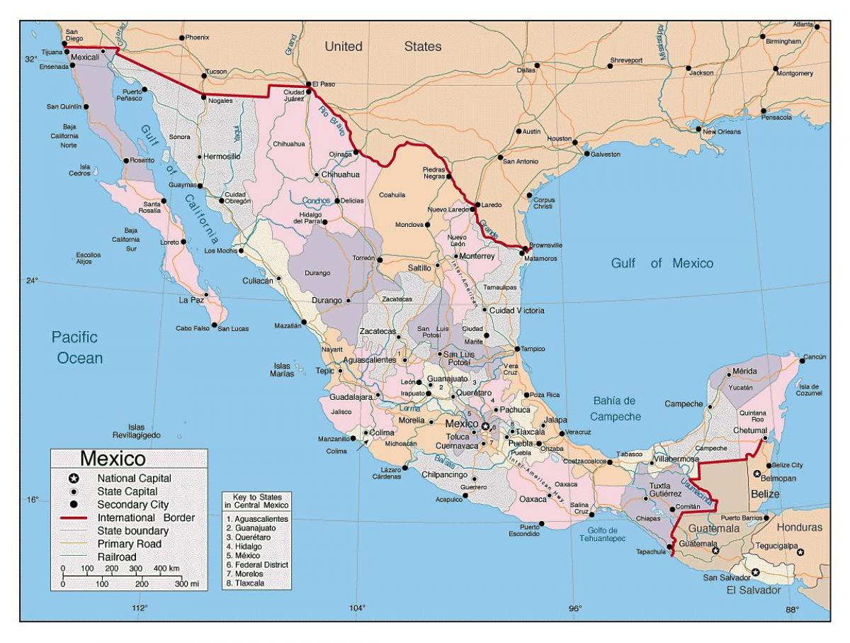 mexico map with major cities