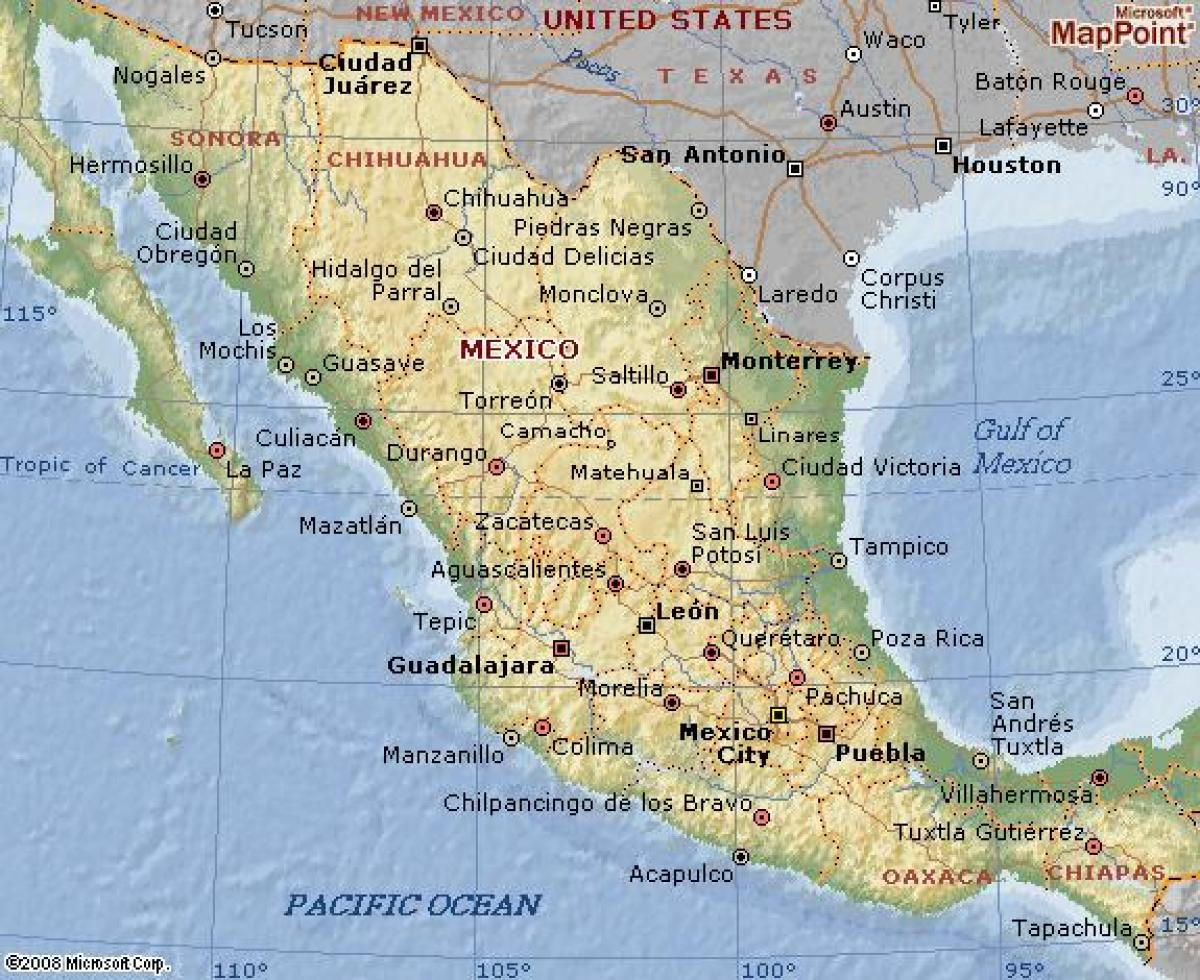 geography of mexico map