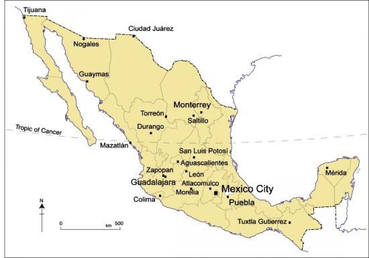 map of major cities in mexico