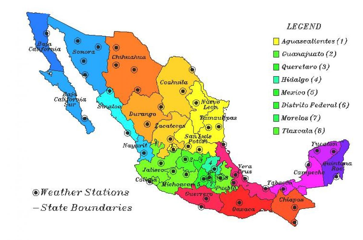 Mexico map weather   Weather map of Mexico (Central America