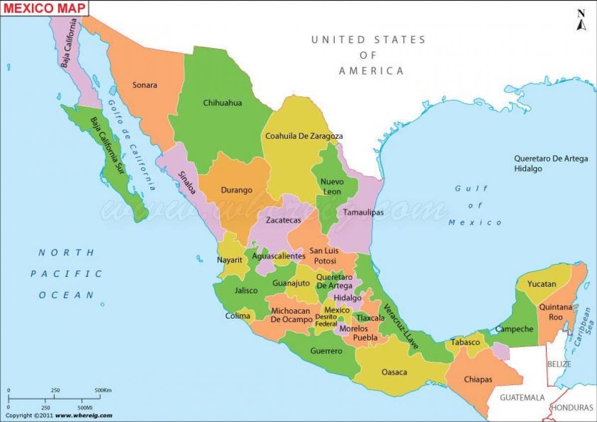 Mexico political map - Political Mexico map (Central America - Americas)