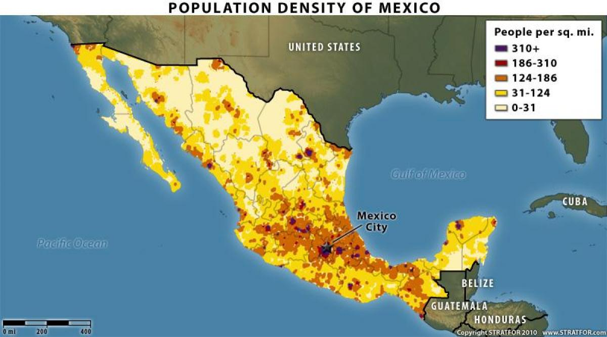 map of mexico population distribution