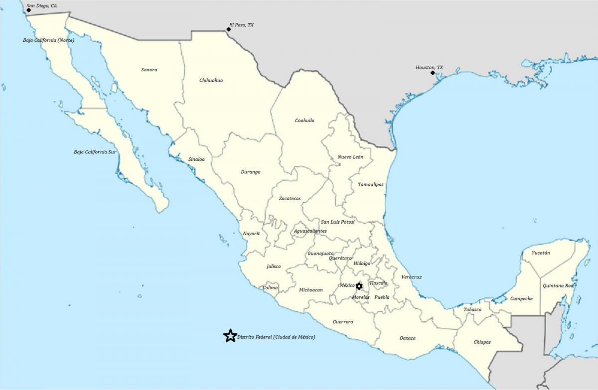 states of Mexico map