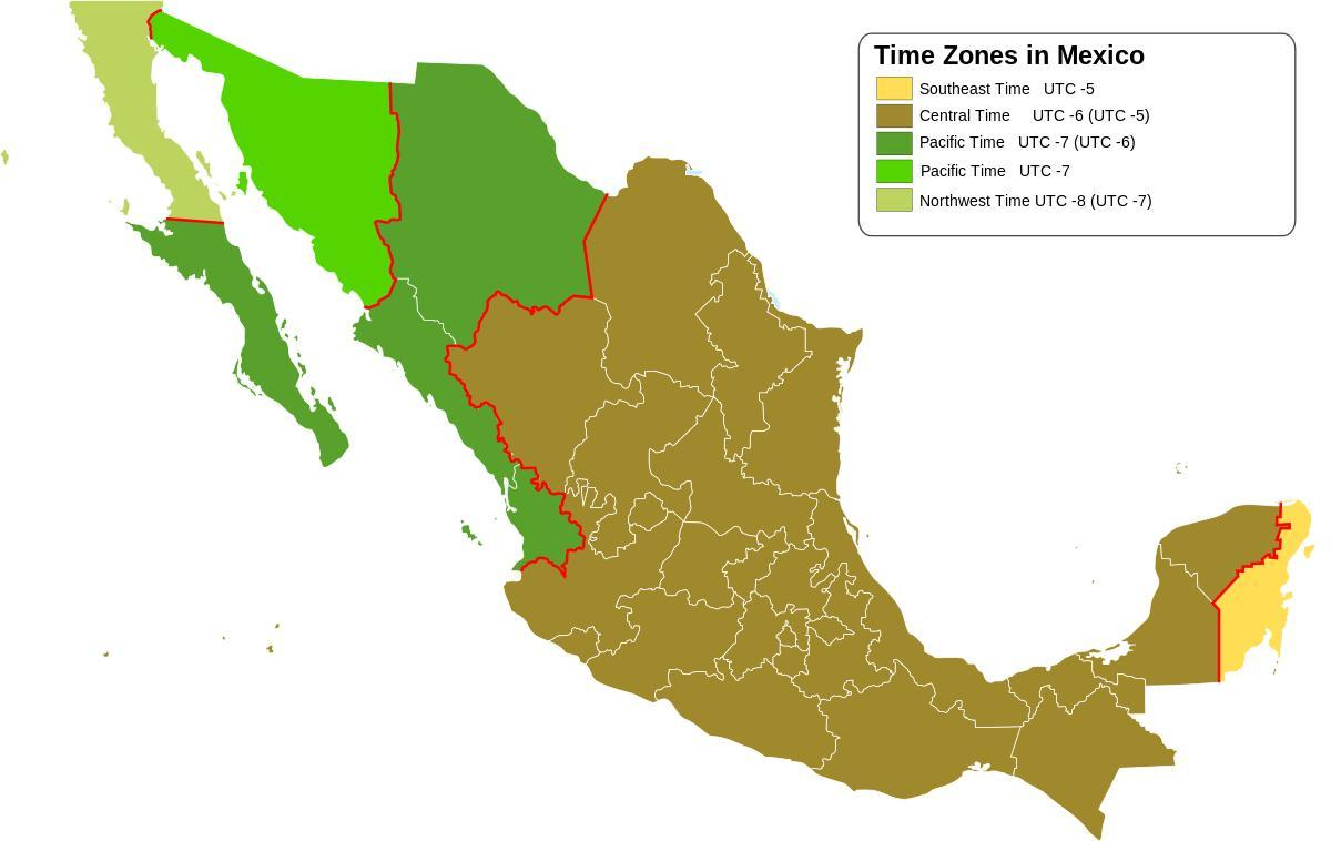 time zone map Mexico