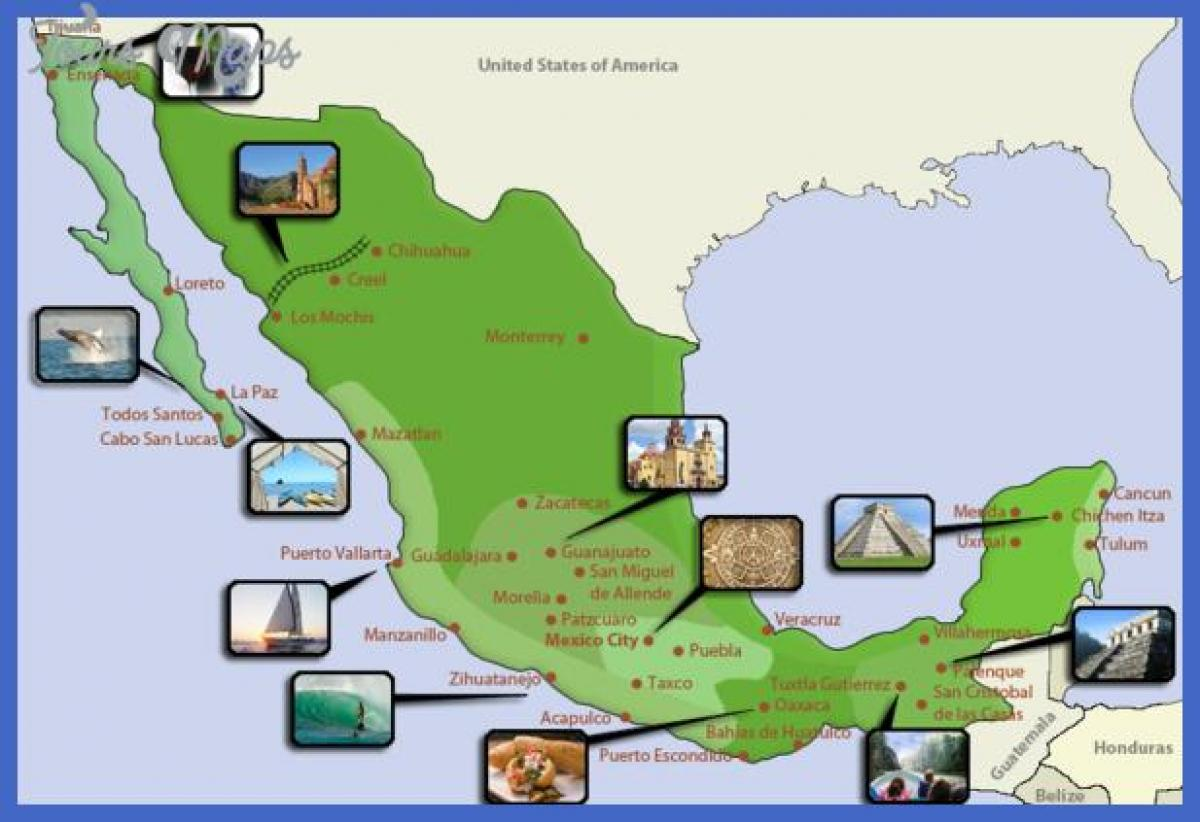 Mexico tourist attractions map Map of Mexico tourist destinations