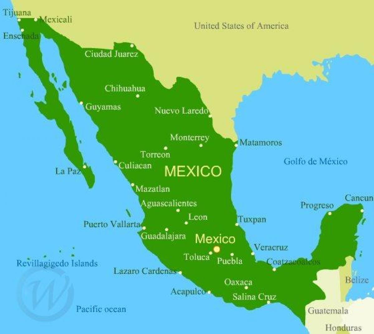 Mexico west coast map - West coast of Mexico map (Central America ...
