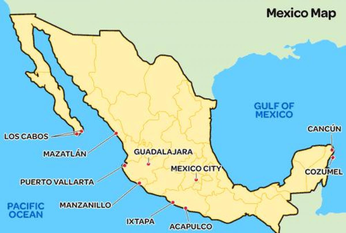 Simple Mexico Map Simple Map Of Mexico Central America Americas